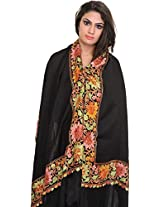 Exotic India Plain Stole from Amritsar with Ari Embroidered Flowers on Border - Color Jet BlackColor Free Size