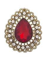 Crunchy Fashion Studded Marsala Royal Finger Ring For Girls