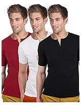 Blackburne Inc Men's Henley T-Shirt Pack of 3 Red White Black ( S )