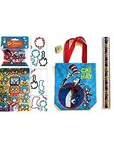 Dr. Seuss Tote Bag Bracelets, Ruler and Sticker Set - Cat in the Hat Tote Bag, Plus 20 Piece Assorted Bracelet Bandz, Ruler and Sticker Sheet