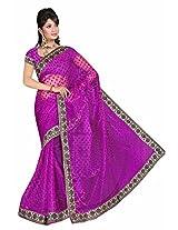 Bhagyavati Women's Heavy border Full Net Saree (_Pink)