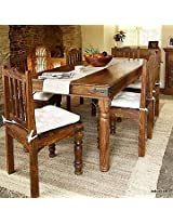 Induscraft 7 Pc Modern Sheesham Wood Dining Table Set
