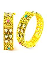 Fabzeel Traditional One Gram Gold Indian Kada Bangle For Women & Girls Size 2.6