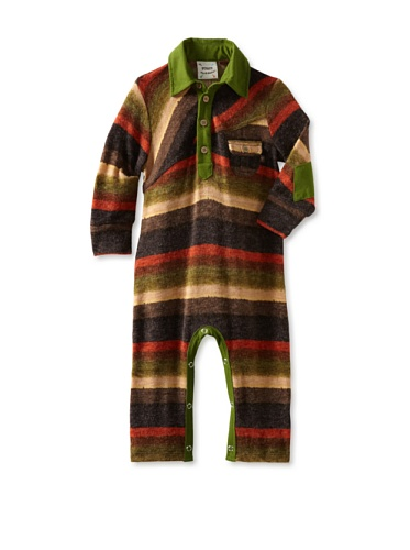 Fore!! Axel and Hudson Boy's Long Sleeve Sweater Knit Polo Romper (Autumn Stripe)