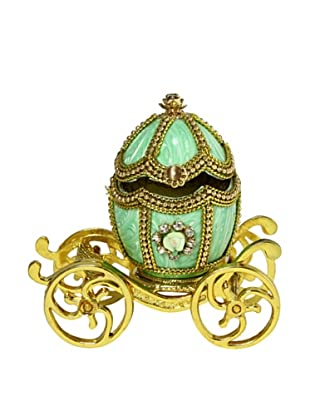 Kingspoint Designs Hand Painted Egg Carousel Jewelry Box, Mint Green