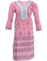 Lucknow Chikan Industry Women's Cotton Straight Kurta (LCI-356, Pink, M)