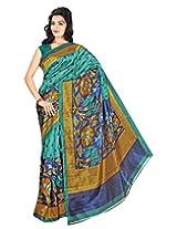 E-Vastram Khadi Saree with Blouse Piece (Kugreen _Green)