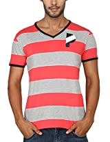 Paani Puri Men's V-Neck T-Shirt (MVNSSP36_Cherry_X-Large)