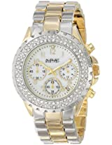 August Steiner Womens AS8031TTG Crystal Mother-Of-Pearl Chronograph Bracelet Watch