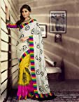Bhagalpuri Silk Printed White Saree