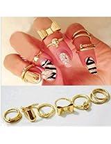 7pcs 2016 Gold Color Finger Ring Skull Butterfly Round Ring Elegant Women Party