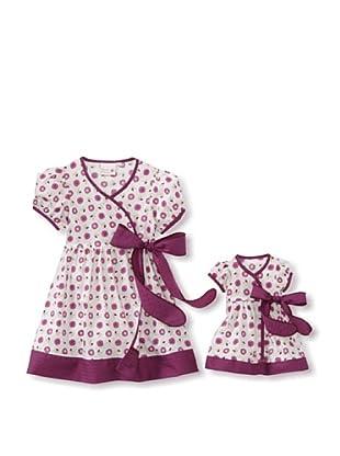 Me & Dolly by 4EverPrincess Girl's Wrap Dress (Purple/white)