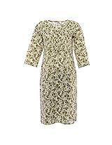 Amaya Women's Cotton Regular Fit kurti (Amaya023_L, Off white and green, L)