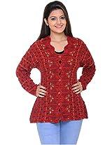 Wool Park Women's Woolen Cardigan (Red, XL)