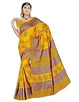 ELERS02B126 DEVKI FASHIONS Yellow BhagalPuri Art Silk Saree