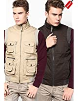 Beige Quilted Jacket (Smart Fit)