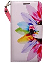SumacLife Wallet Case for Nokia Lumia 640 XL - Retail Packaging - Rainbow Sunflower