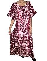 Indiatrendzs Hot-N Sexy Maroon Nighty tie-Dye Printed Comfy Sleepwear-M
