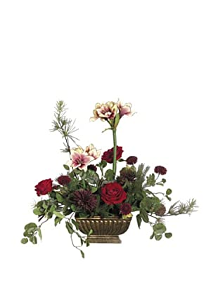 Rose, Amaryllis & Mum Arrangement, Red/Plum
