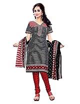 Krisha Print Women's Unstitched Churidar Salwar Suit (Red_Free Size)