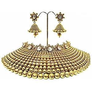 Shingar jewellery antique gold kundan look bridal necklace set for women (6297-as-a)