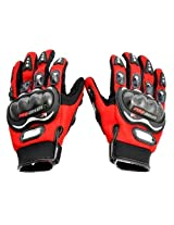 Probiker Full Finger Gloves for Bikers (Red)