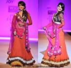 Gauhar Kahn red and orange lehenga choli inspired design