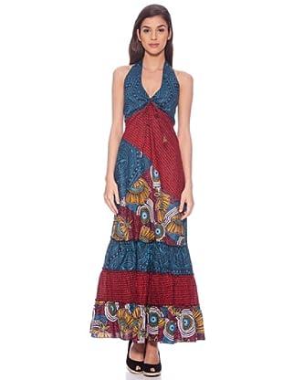 Sigris Vestido Hippie Estampado (Rojo / Azul)