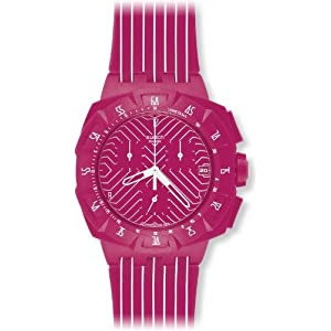 Swatch Women's SUIP401 Pink Run Multi-Color Strap Watch
