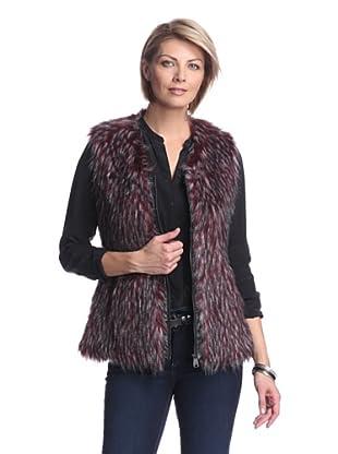 Via Spiga Women's Faux Fur Vest (Burgundy)