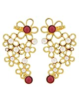 The jewelbox Gold Plated white & Red Pearl Filigree Cuff Earring for Women