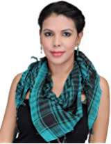 Exotic India Arafat Scarf with Woven Checks - Color BluejayColor Free Size