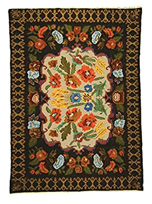 nuLOOM One-of-a-Kind Bouquet Hand-Knotted Vintage Bessarabian Kilim, Black, 6' 10