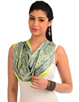 Lime green printed readymade stole