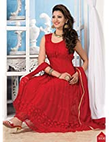Stylish Red net Jacquard anrkali suit