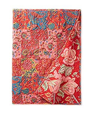 North Rodeo Collection Floral Block Hand Stitched Throw, Red/Multi