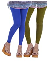 Nakhrali Women's Cotton Slim Fit Classic Ankle Length Leggings ( Pack of 2) (NKC-AL-CP02, Mild Green, Royal Blue, XX-Large)