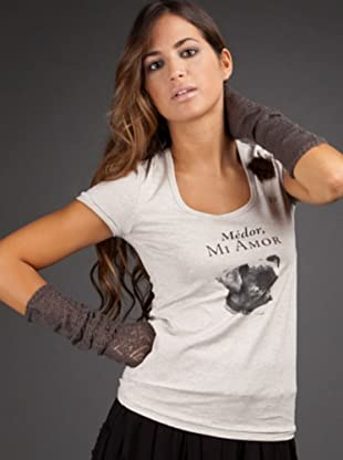 Ikks Camiseta Print (blanco jaspeado)