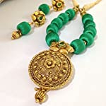 Sea green and gold silk bead necklace with golden pendant and earrings