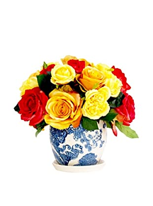 Creative Displays Yellow & Red Roses in Delft Pot