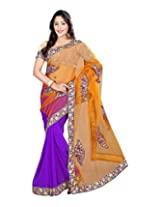 Sanskar Fashion Net Saree (Sku55 _Purple)