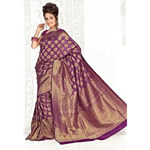 Dark Pink Banarsi Art Silk Saree with Blouse