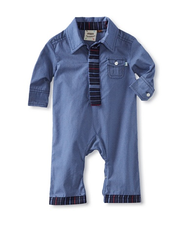 Fore!! Axel and Hudson Boy's Diamond Print with Tie Placket Woven Polo Romper (Diamond)