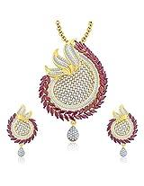 Sukkhi Feminine Gold And Rhodium Plated Ruby CZ Pendant Set For Women