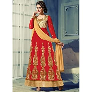 Georgette Embroidered Long Anarkali Suit, Red