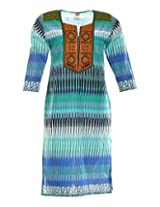 Vinorisa Girl's Cotton Regular Fit Kurti (Sea Green, 44)
