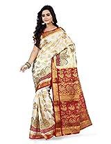 Mimosa Kanchipuram Silk saree half white Colour(3115-147-EMB-HWMAROON)