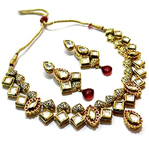 Daamak Jewellery Gold Plated Necklace Set Cz Encrusted With Modern Classic Theme