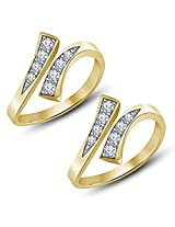 14K Gold Over .925 Sterling Silver swarovski CZ Adjustable Bypass Toe Ring Pair From Vorra Fashion