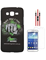 DMG Night Glow Hard Back Cover Case For Samsung Galaxy Grand 2 G7102 (Punch) + AUX Cable + Matte Screen